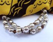 Bronze Brown Glass Pearls with Swarovski Crystal Bling Beaded Bracelet