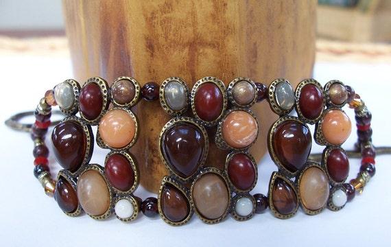 Beaded Boho Chic Swarovski Crystal Cuff Bracelet