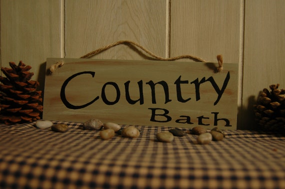 Country Bath Wood Sign