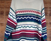Vintage Ugly Christmas Sweater, Italian Gaudy Tacky Colorful 3D Cosby Zig Zag Striped Crew Neck Pullover Ultimate Ugly