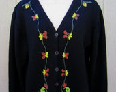 Vintage Laura Ashley Sweater, Embroidered Long Sleeve V-Neck Wool Cardigan 1980s Size 12 M/L