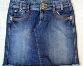 Vintage Denim Jean Mini Skirt, Stretch Dark Wash Distressed DKNY Size 4P Petite