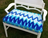 Vintage White Painted Bench with Cushion With Indoor Outdoor Trina Turk Fabric
