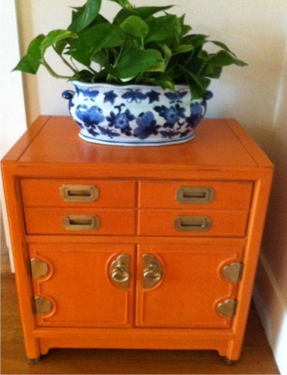 Night Stand Stands Out - Painted Barcelona Orange - waxed and gently distressed by summerwind interiors FREE SHIPPING
