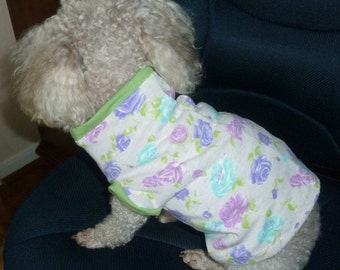 Dog Clothes, A Cute Puppy Dress Size Medium in Rose, Purple and Aqua, Lime Green Print on Light Pink