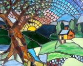 Mosaic Landscape Wall Art: Sunrise Oak Tree Landscape Scene with Kitty Cats