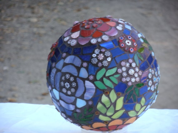 Whimsical Floral Mosaic Decorative Globe, One of a Kind Stained Glass Mosaic Globe