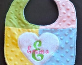 Custom Boutique Patchwork Applique Heart Minky Bib