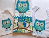 Owl Burp Cloth, Bib and Onesie Set