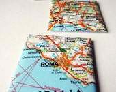 Map Magnets. Set of 3. Fridge magnets. Recycled atlas. Map book of Italy. Europe. Rome. Milan. Palermo