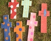 ONE SMALL hand carved & hand painted wooden cross
