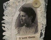 ART card quote Vintage Victorian mixed media digital art assemblage collage hanging tag Bookmark Old buttons trim lace