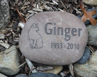 Custom Pet Memorial with Side Graphic, Name and 2 years