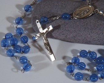 lot of 2 blue vintage rosaries Altered Art rosary