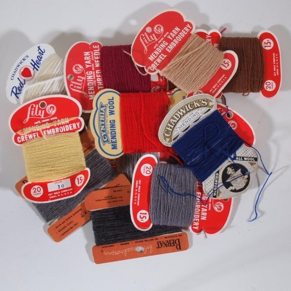 Lot of vintage yarn mending cards Crewel Embroidery