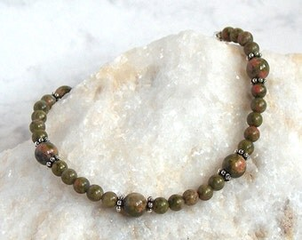 Unakite Beaded Bracelet, Numerology Bracelet, Sterling Silver Clasp, Meatphysical Jewelry, Olive Green and Creamy Peach Beads; Unachite