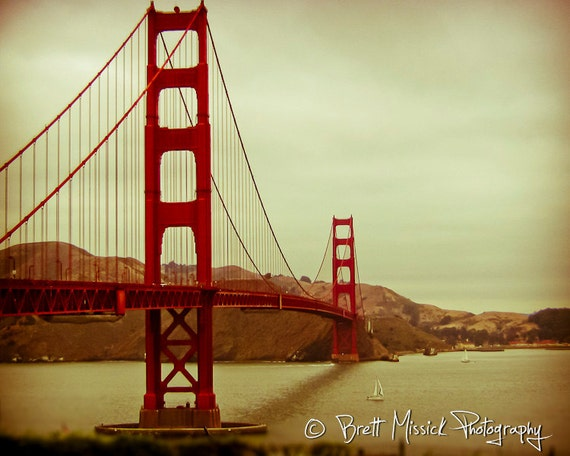 San Francisco Golden Gate Bridge 3-- 8x10 Fine Art Print Grunge Vintage Wall Decor Landscape Red