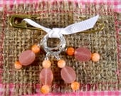 STITCH MARKERS Rose Quartz and Coral , Set of 4, Size Large
