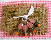 STITCH MARKERS, Rose Quartz, Swarovski Crystal, Coral, Set of 4, Size Medium
