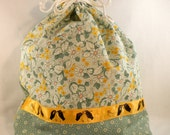 "DRAWSTRING PROJECT BAG Spring Floral with ""knitting hands"" ribbon detail"