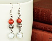 Coral Silver and White Beaded Dangle Earrings