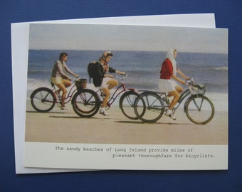Retro Long Island Bicyclists Sandy Beaches Retro Note Card, Blank Note Card, 5 x 7