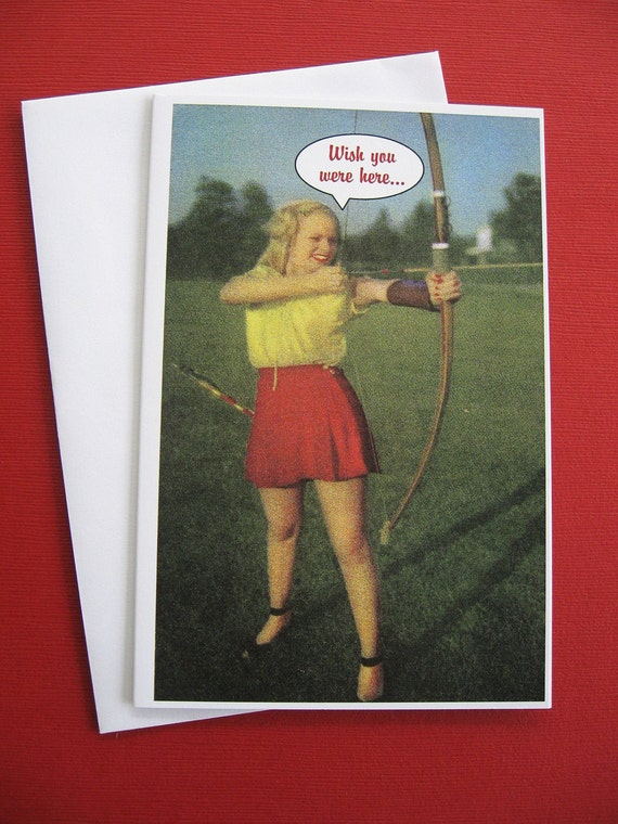 Archery Practice Retro Fun Blank Greeting Card, 4 x 6