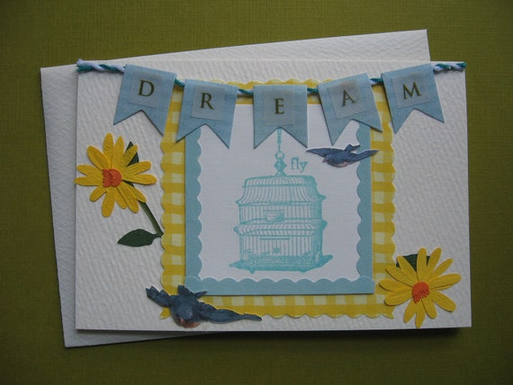Dream & Fly Away Vintage Birdcage and Yellow Daisy Avian Note Card, 3 1/2 x 5