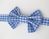 Bow Tie - Neck Tie - Infant Bow Tie - Photo Prop - Blue & White Baby Boy Bow Tie - Gingham Bow Tie