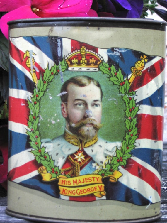 """King George V Tin """"To our Fighting Heroes Xmas 1914"""" WWI"""