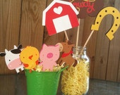 Farm Friends Cupcake Toppers & Wrappers - Farm Birthday Party - Barn Yard Party - 24 Pieces