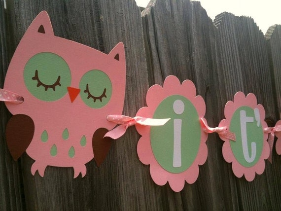 Baby Owl It's A Girl Banner - Baby Shower - Baby Announcement