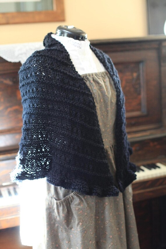 Hand Knit Black Wool Shawl Ready to Ship