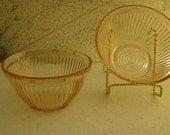 Depression Glass Ribbed Bowls (Set of 2)