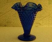 Cobalt Hobnail Mini Vase
