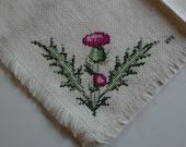 Handmade Vintage Crosstitch Bread Cloth - Thistle