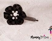 Elegant Black Flower Hair Clip on Checkered Velvet, Pearls