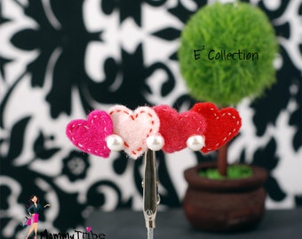 Heart Hair Clip / Heart Barrette With Pick Stitch