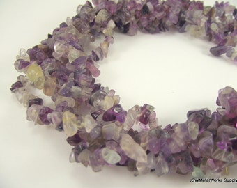 Rainbow Fluorite Chip Beads (Natural), 34 inch Strand, Whole Strand