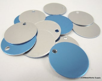 20 1 Inch Shiny Anodized Aluminum Tags, Large Blank Discs