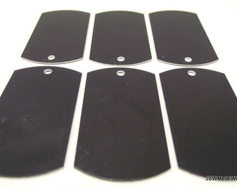12 Large Black Anodized Aluminum Dog Tags, Large Blank Discs, Blank Stamping Tags