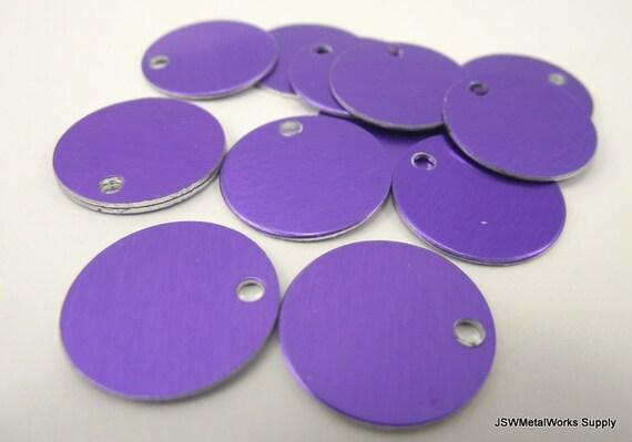 50 0.69 Inch Purple Anodized Aluminum Tags, Medium Blank Discs