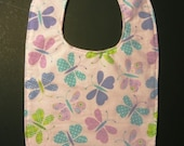 Toddler Bib Girl Butterflies - Pink