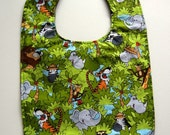 Toddler Bib Jungle Theme - Elephants, Tigers, Monkeys, Zebra