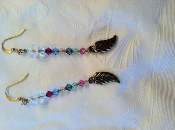 Earrings Swarovski Bicones and Leaf Charms