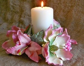 YOUR COLOR Real Touch flower Pink Magnolia Lily candle ring Centerpiece wedding bridal decoration Sweet Sixteen 16 Vintage Style Shabby Chic