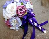 YOUR COLORS Ivory Mauve Purple Vintage Look Rhinestone Rose Bridesmaid Toss Bouquet Wedding Bridal Accessories Chic Customizable Flower