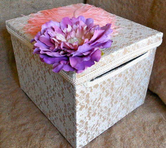 YOUR COLORS Vintage Style Ivory Lace Mauve Flower Feather Wedding Bridal Money Box Card Holder Gift Holder Accessories Custom Made