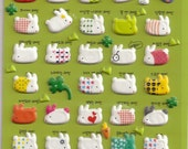 Kawaii Korean Super Cute Rabbit Bunny Puffy Stickers - Perfect for scrapbooking, card-making, dairy, journaling, etc.