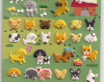 Kawaii Korean Super Cute Dog Puffy Stickers - Perfect for scrapbooking, card-making, dairy, journaling, etc.